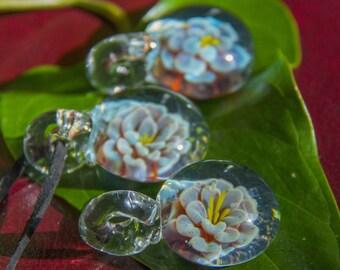Blown Glass Flower Pendant - Trippy Glass Pendant - Stoner Glass Pendant - Flower Implosion - Trippy Boro Necklace - Stoner Jewelry