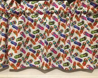 "Flip Flops Pink Lady Valance Curtain 42"" W x 13"" L"