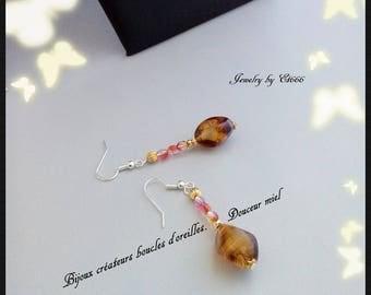 Jewelry designers earrings. Sweetness honey