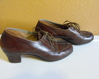 Vintage Enna Jettick Shoes Brown 8 1/2 Wooden Heels Granny Oxford Late 1940's