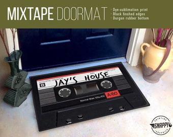 """Custom Name Mixtape Doormat/Rug - 24"""" x 36"""" - High Quality Digital Print, Dye-Sublimation, Weatherproof-Indoor/Outdoor"""