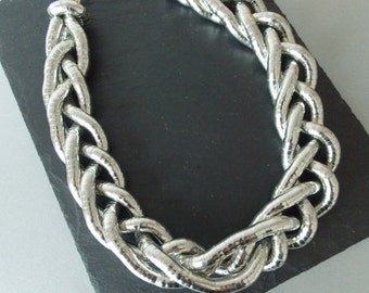 Chunky Silver Plait Style Statement Necklace