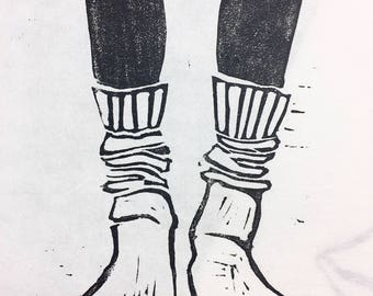 Wool Socks Linocut Print