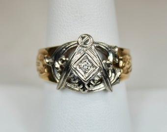 Vintage Art Deco Era Mens Ring 10K Yellow Gold 10K White Gold Masons Masonic Emblem Diamond Sz 8.75  c1930s-40s