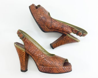 40s Size 6.5 Rust Snakeskin Platform Heels   Snake Peep Toe Platforms