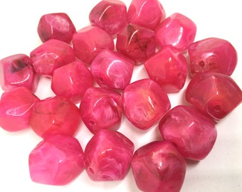 Pink Beads, Acrylic Beads, The Jet-Setter Collection, 22mm beads, Colorful beads, Multi-Color Beads, Gemstones, Chunky Beads