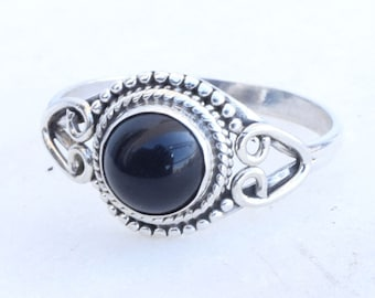 Black Stone Ring, Stone Ring, Black Silver Ring, Silver Ring, Black Stone Ring, Sterling Silver Ring,Size - US 3,4,5, 6, 7, 8, 9, 10, 11,12