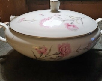 Royal Court (carnations) Fine China Covered Soup/Side Serving Dish