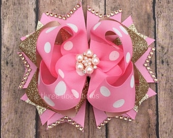 Pink and Gold Boutique Bow - Pink and Gold Hair Bow - Pink and Gold First Birthday - Pink and Gold Stacked Bow - Pink and Gold Birthday Bow