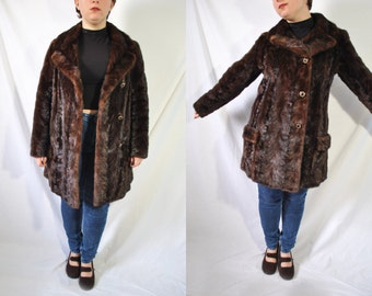 Vintage 60s Mink Fur Coat Authentic Fur Jacket 60s Mod Coat Mink Fur Jacket Vintage Winter Coat 60s Evening Coat 60s Brown Fur Long Coat