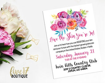 Rodan and Fields Invitation | Pink Floral | Love the Skin You're In | Personalized | Digital