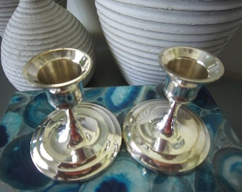 Vintage Silver Plate Candle Holders, International Silver Co silver plate candle holders,