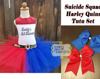 Harley Quinn Suicide Squad Edition Tutu Dress with Matching Hair Bows