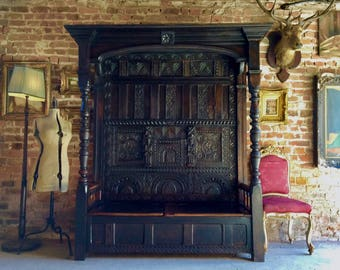 Stunning Antique Canopy Settle Bench Heavily Carved Oak 17th Century Charles I