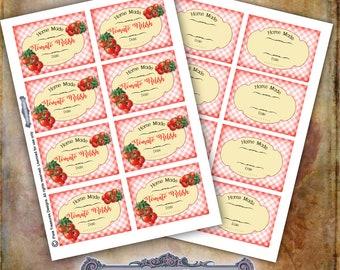 Tomato Relish Labels, Blank Labels, Digital Label Sheets