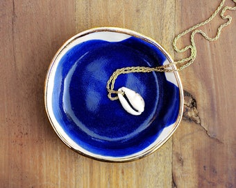 EBB & FLOW - Ocean Jewellery Bowl - Gold Rim