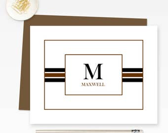 Personalized Stationery for Men, Monogrammed Note Cards, Personalized Monogram Stationary,  Personalized Stationary FLDC006