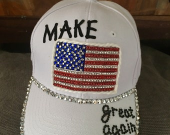 Make America great again hat, Donald Trump hat, Trump baseball cap, Bling American flag, patriotic hat, woman's hats