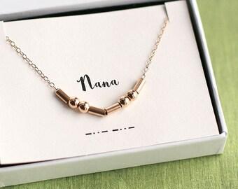 Nana Morse Code Necklace, Nana Necklace, Morse Code Necklace, Morse Code Jewelry, Personalized Morse Code, Gift for Nana, Grandmother Gift