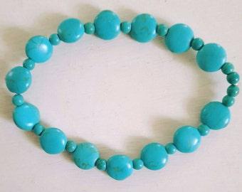 Turquoise bracelet, chunky bracelet, elastic bracelet, blue bracelet, coin bracelet, turquoise jewelry, green bracelet, stretch bracelet