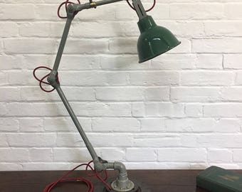 Industrial Vintage 1930s Original Dugdills Workshop Lathe Factory Desk Lamp Light