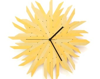 Haystack gold - organic wall clock made of wood