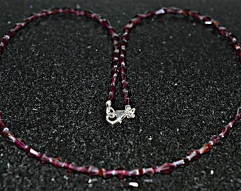 Garnet Bead Necklace - Bead Necklace - Garnet Necklace - Garnet Bead