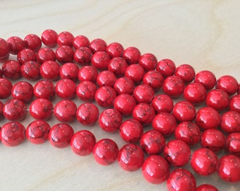 Red with Black Pattern Beads 10mm