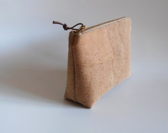 little case  Cork-leather natural, colored dots, chiq Pouch,make-up case,pencil case,cosmetic pouch,for her,gift idea