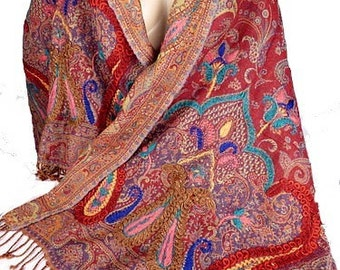 Red PASHMINA SCARF SHAWL embroidered in wool wool shawl scarf women pk89 hand