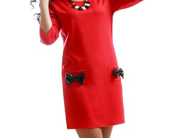 Red Daytime dress Jersey dress party Dress with pockets Decorative bow Dress Box Simple dress