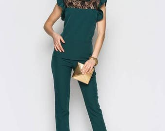 Emerald trendy costume Day to day costume Occasion wear for women Party clothes Jersey Spring Autumn wear