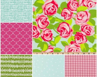 Made to Order Baby Bedding in pink, mint and lime green with modern prints that include roses and gingham