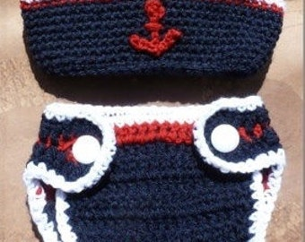 Nautical Baby Diaper And Sailor Hat Set 0-3 Months to 3-6 Months