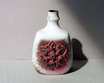 Vintage vase by Strehla, white and brown marbled, pink flower in relief, handpainted German pottery, model 1271, DDR, East Germany, retro