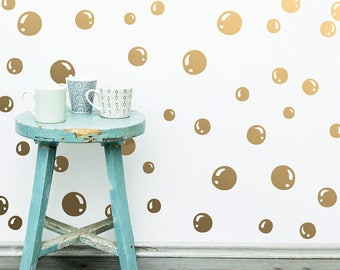 Bubble Wall Decals - Vinyl Wall Decals, Bubble Decal Set, Bubble Wall Stickers, Kids Room Decor, Gold Decals, Modern Wall Decals