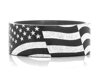 USA Flag Black Zirconium Laser Carved Men's Ring