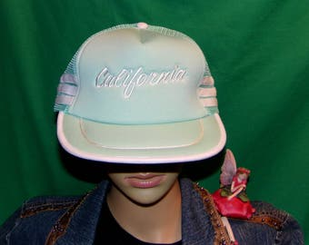 Vintage California Hat, Embroidered Baseball Cap, Nearly 40 years old! Sea Mist Green Awesome Find
