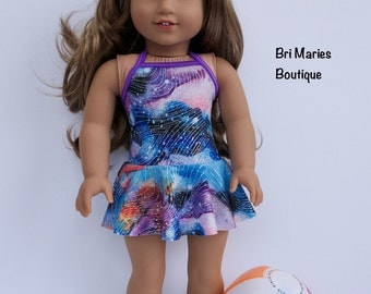 18 inch doll clothes AG doll clothes One piece skirted swimsuit made to fit like American Girl doll clothes