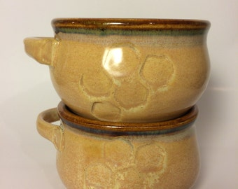 Ceramic Soup Bowl Set with Honeycomb Pattern and Handle, Soup Crocks