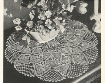 PDF Pineapple Crochet Doily Pattern Table Topper Center Piece