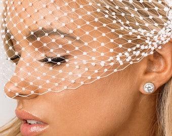 Pearl Headpiece, Birdcage Veil, Bridal Veil, White, Pearl, Wedding Veil