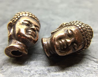 Copper Plated Buddha Head Beads, TierraCast Large Hole Buddha Beads, Lead Free Pewter, Copper Buddha Head, 14x9mm - 4 beads (CH-77)