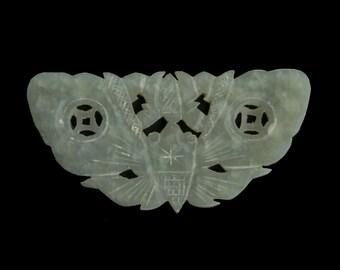 Vintage hand carved nephrite jade moth plaque.50x26mm avg. size. b4-jad483(e)