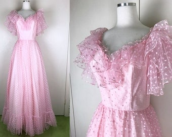 1950s 1960s Pink Formal Dress Evening Gown 50s 60s Pale Pink Blush Pink Polka Dotted 50s Prom Dress with Sweetheart Neckline Ruffled Sleeves