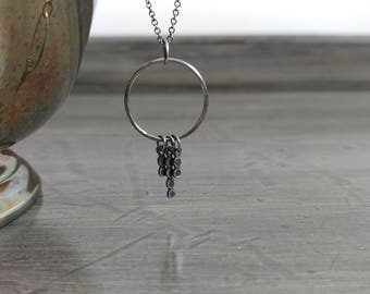 Delicate circle with dangly bead bars ~ sterling silver necklace, handcrafted