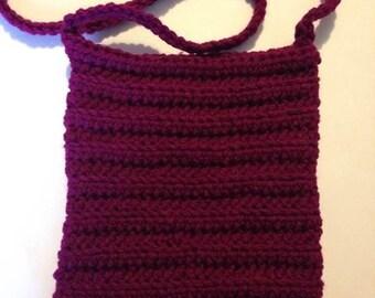 Crochet hand bag purple handmade