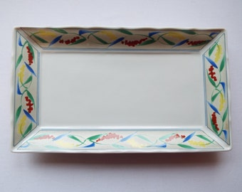 Vintage Sandwich Plate, By Take Japan Art Collection. Rectangular Cake Plate or Serving Platter, With Leaf Pattern. Perfect For A Tea Party