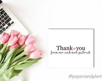 Bride and Groom Thank You Card | Newlywed Thank You Card | Wedding Gift Thank You Card | Couple's Thank You Card - Printable File