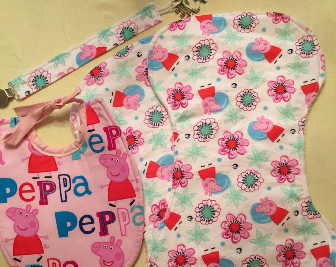 Baby Bib Gift Set Peppa Pig Inspired Fabric Bib, Burp Cloths and Pacifier Clip